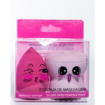Спонж-массажер для умывания+спонж для макияжа