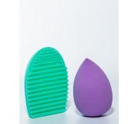 Спонж для макияжа+щетка для очищения кистей, 4