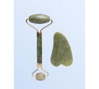 Набор для массажа лица роллер+скребок Гуаша, зеленный