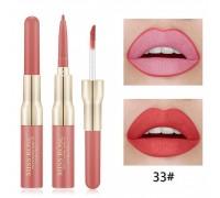 MISS ROSE 2 В 1 Водостойкий матовый блеск+карандаш для губ, тон 33