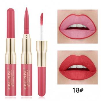 MISS ROSE 2 В 1 Водостойкий матовый блеск+карандаш для губ, тон 18
