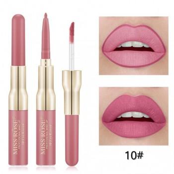 MISS ROSE 2 В 1 Водостойкий матовый блеск+карандаш для губ, тон 10