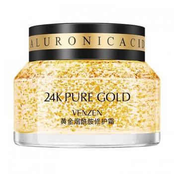 Крем для лица с ниацинамидом, гиалуроновой кислотой и нано золотом Venzen 24К 50мл