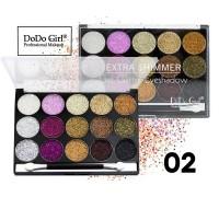 Тени для век DoDo Girl Palette Extra Shimmer Gel Glitter Eyeshadow #02 15 цветов