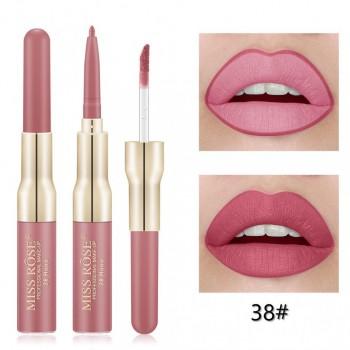 MISS ROSE 2 В 1 Водостойкий матовый блеск+карандаш для губ, 38
