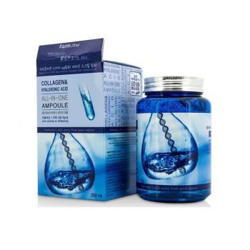 Многофункциональная сыворотка с гиалуроновой кислотой и коллагеном/ FARMSTAY COLLAGEN & HYALURONIC ACID ALL-IN-ONE AMPOULE 250 МЛ