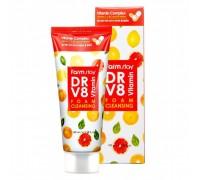 Пенка для умывания с витаминным комплексом FarmStay DR-V8 VITAMIN, 100мл. 100% KOREA.
