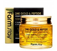 Антивозрастной ампульный крем с золотом и пептидами Farm Stay 24K Gold Peptide Perfect Ampoule Cream