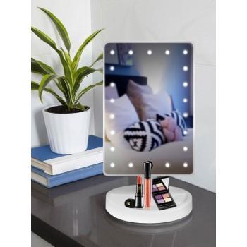 Зеркало косметическое для макияжа с LED подсветкой, USB-провод, белое