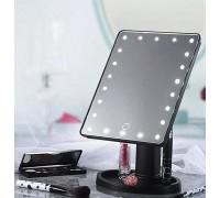 Зеркало косметическое для макияжа с LED подсветкой, USB-провод, черное