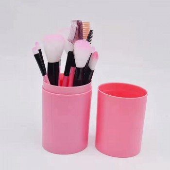 Набор кистей для макияжа в тубусе 12шт,Кораловые