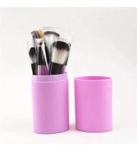 Набор кистей для макияжа в тубусе 12шт,Розовые