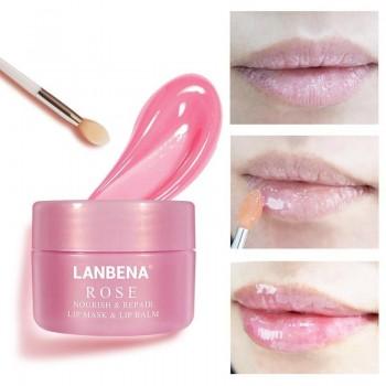 Увлажняюща,питательная маска-бальзам для губ Lanbena Rose,20гр